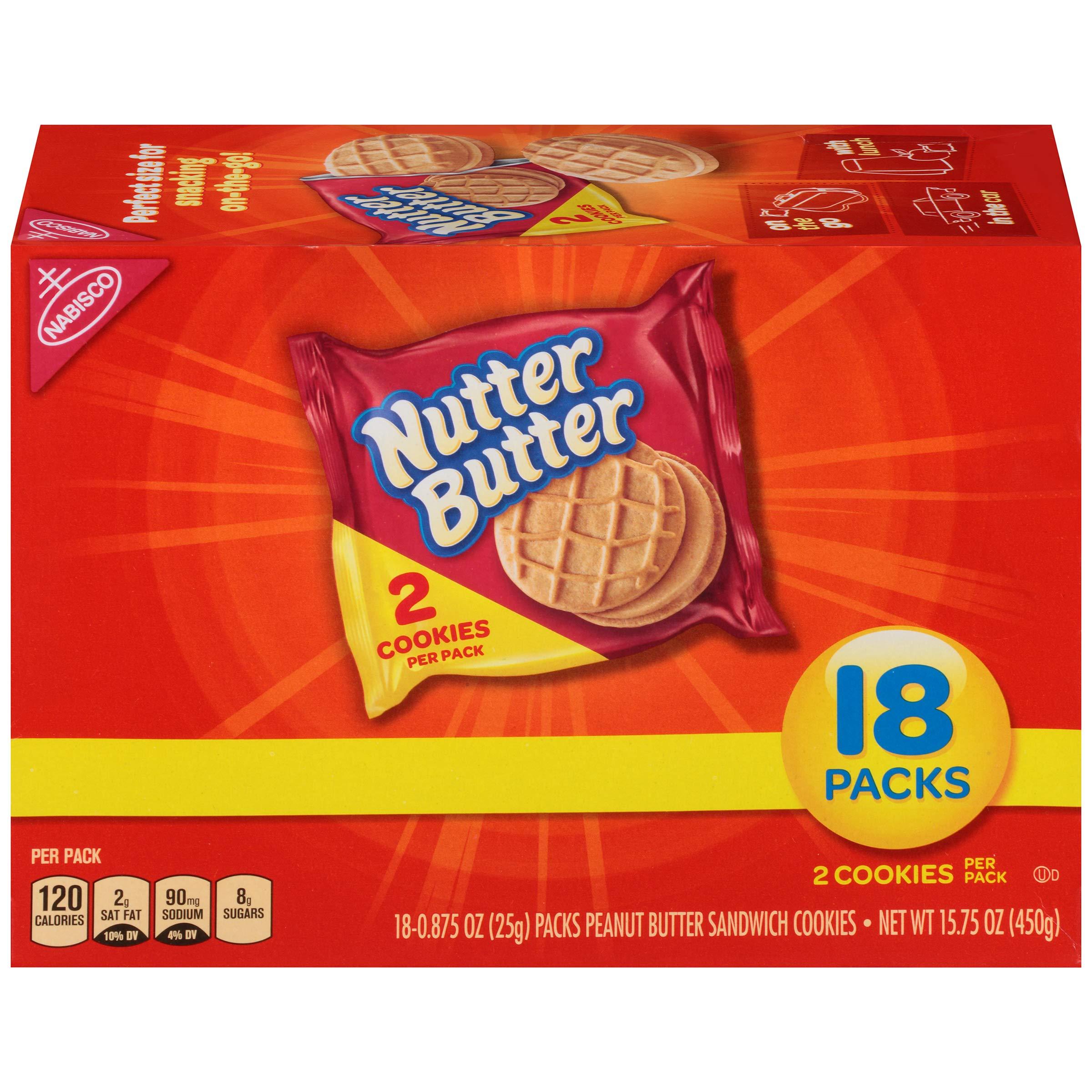 Nutter Butter Peanut Butter Sandwich Cookies - Snack Packs, 18 Count Box, 15.75 Ounce by Nutter Butter