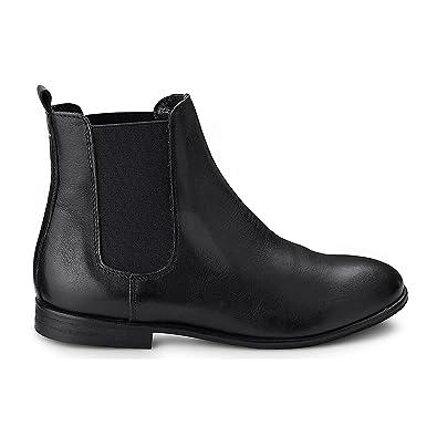 Modestile das beste Schatz als seltenes Gut Cox Damen Damen Chelsea-Boots in Schwarz aus Leder, Stiefelette mit  Stretch-Einsatz und höherem Schaft