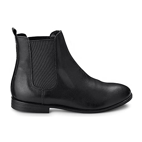 fd27a4cee0857e Cox Damen Damen Chelsea-Boots in Schwarz aus Leder