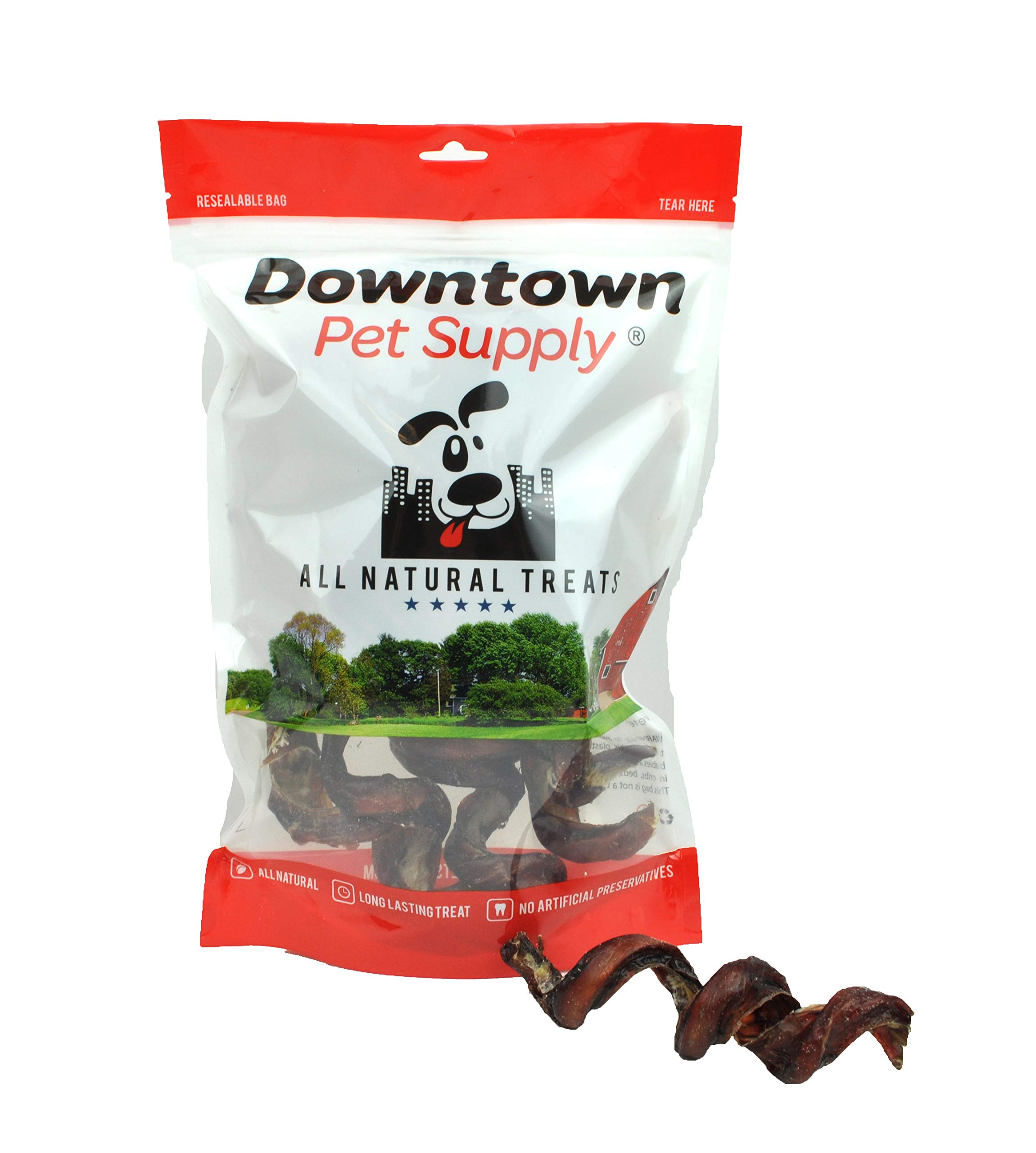 Downtown Pet Supply 4''-6'' Curly Bully Sticks, Bull Bully Springs - Regular Select Thick - Dog Chew Treats (10 Pack)