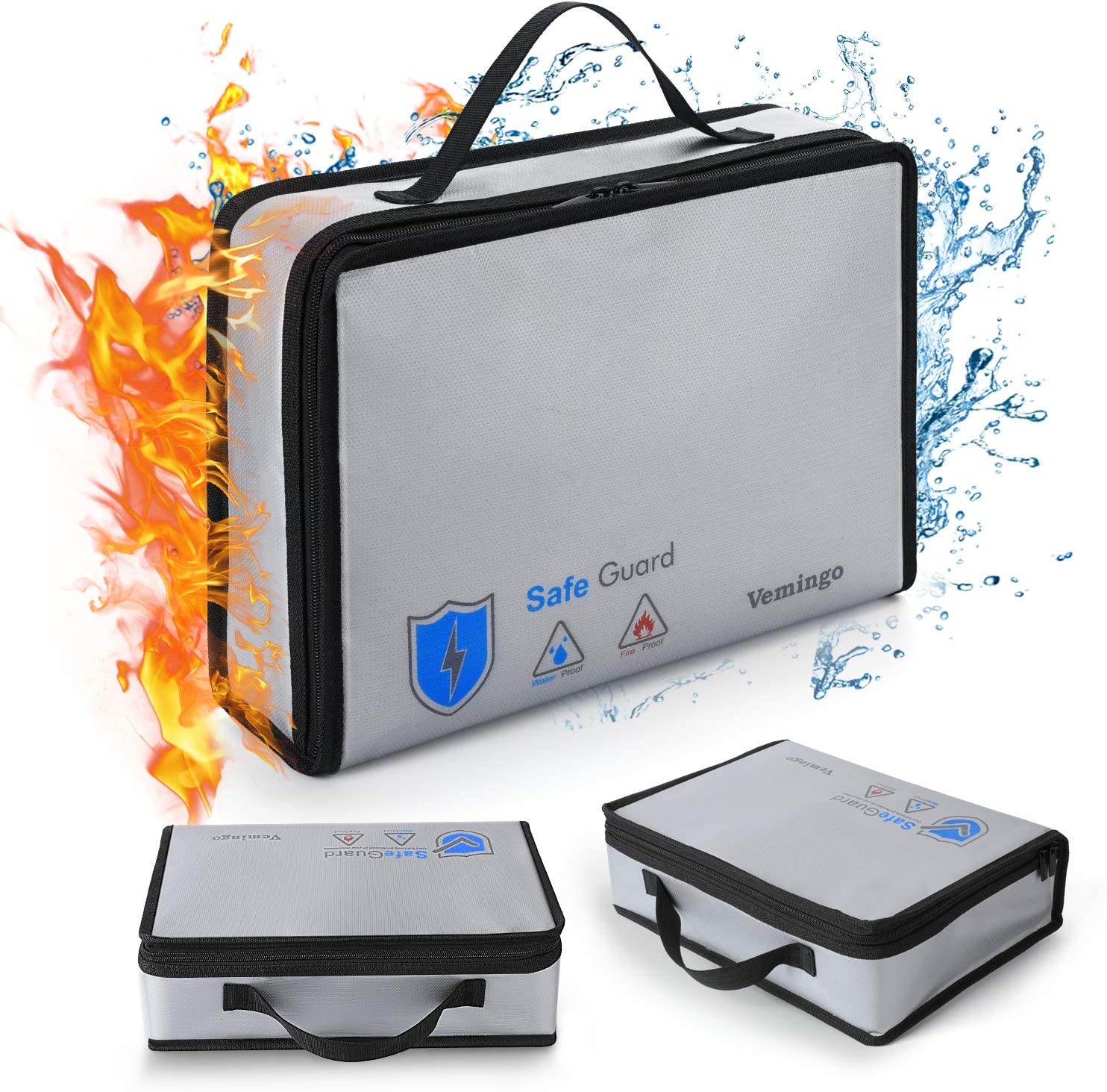 Vemingo Fireproof Document Bags 2-in-1 Fire-Resistant Battery Holder Case Fireproof Safe Storage for Money Laptop Battery Jewelry Passport