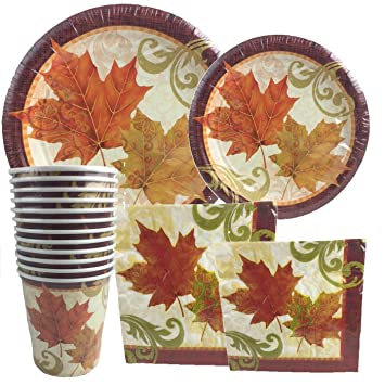 Autumn Traditions Thanksgiving Falling Leaves ~ Plates Napkins Cups Set Serves 12  sc 1 st  Amazon.com & Amazon.com: Autumn Traditions Thanksgiving Falling Leaves ~ Plates ...