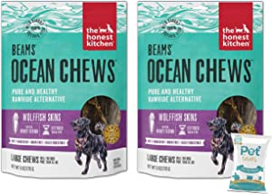 The Honest Kitchen (2 Pack) Wolffish Ocean Chews Grain Free Dog Chew Treats – Natural Human Grade Dehydrated Fish Skins (6 oz Each) with 10ct Pet Faves Wipes