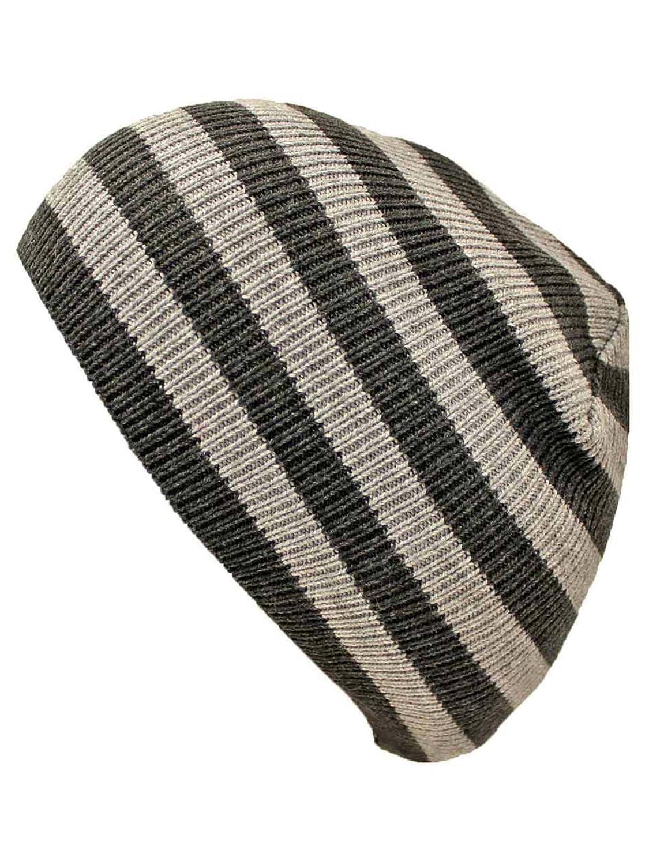 25a9e5e060b3dc Luxury Divas Black & Grey Striped Slouchy Knit Beanie Cap Hat at Amazon  Women's Clothing store: Skull Caps