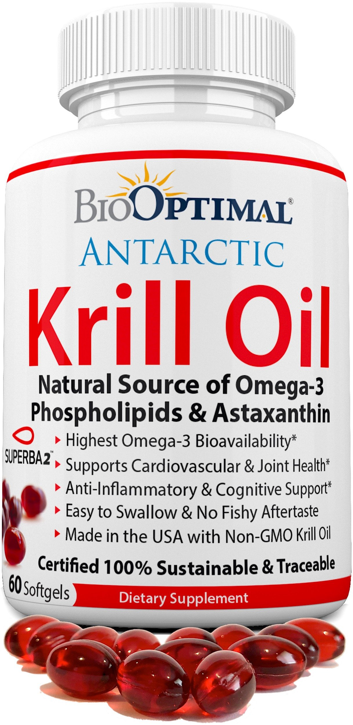 BioOptimal Krill Oil (1000mg) Antarctic Krill Oil Capsules with Omega 3, Astaxanthin, DHA and EPA (60ct)