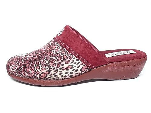 Vul-ladi Zapatilla Mujer Para Andar Por casa Invierno-Color Burdeos Lepardo - 8903