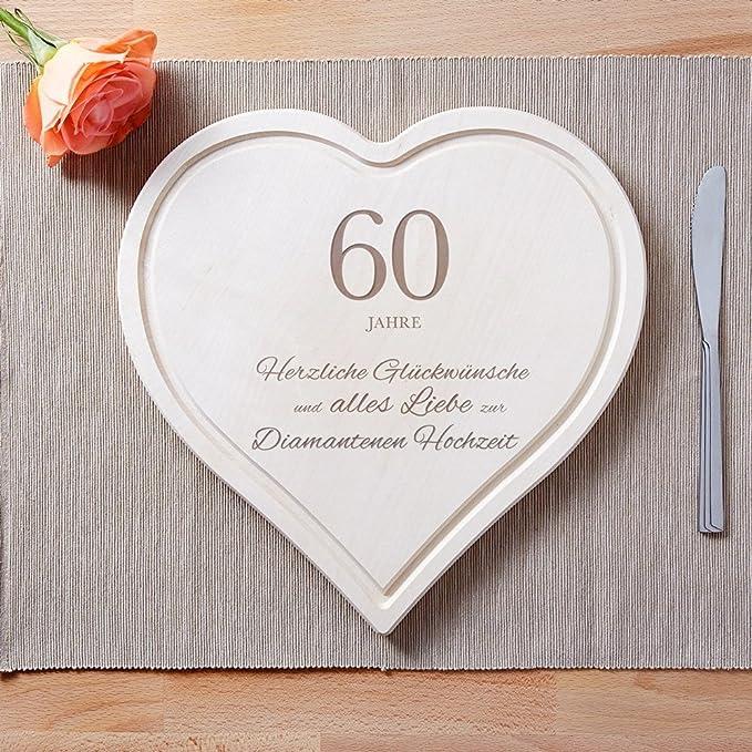 Crazy Kitchen Schneidebrett Herz Mit Gravur Zur Diamantenen Hochzeit