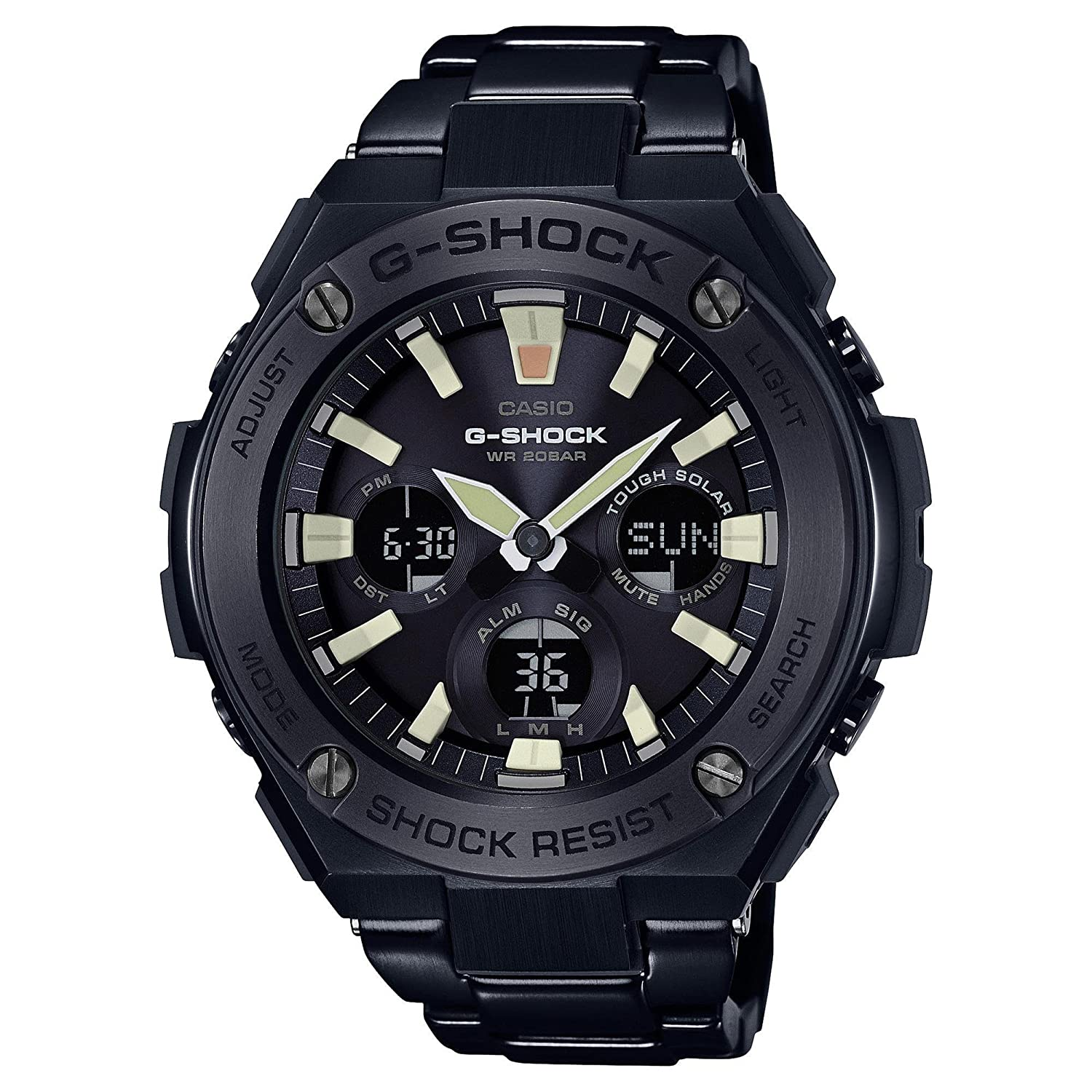 Amazon Com Men S Casio G Shock G Steel Black Ion Plated Stainless