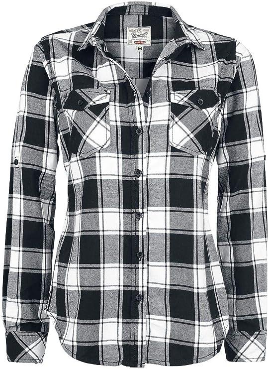 TALLA XL. Brandit Camisa a Cuadros de Franela Amy Camisa de Franela Negro/Rojo