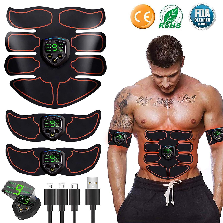 LEMENG Elettrostimolatore Muscolare Addome//Braccio//Gambe//Waist//Glutei Massaggi-Attrezzi Addominali Attrezzi ABS USB Ricaricabile-Uomo//Donna EMS Suscolo Addominale