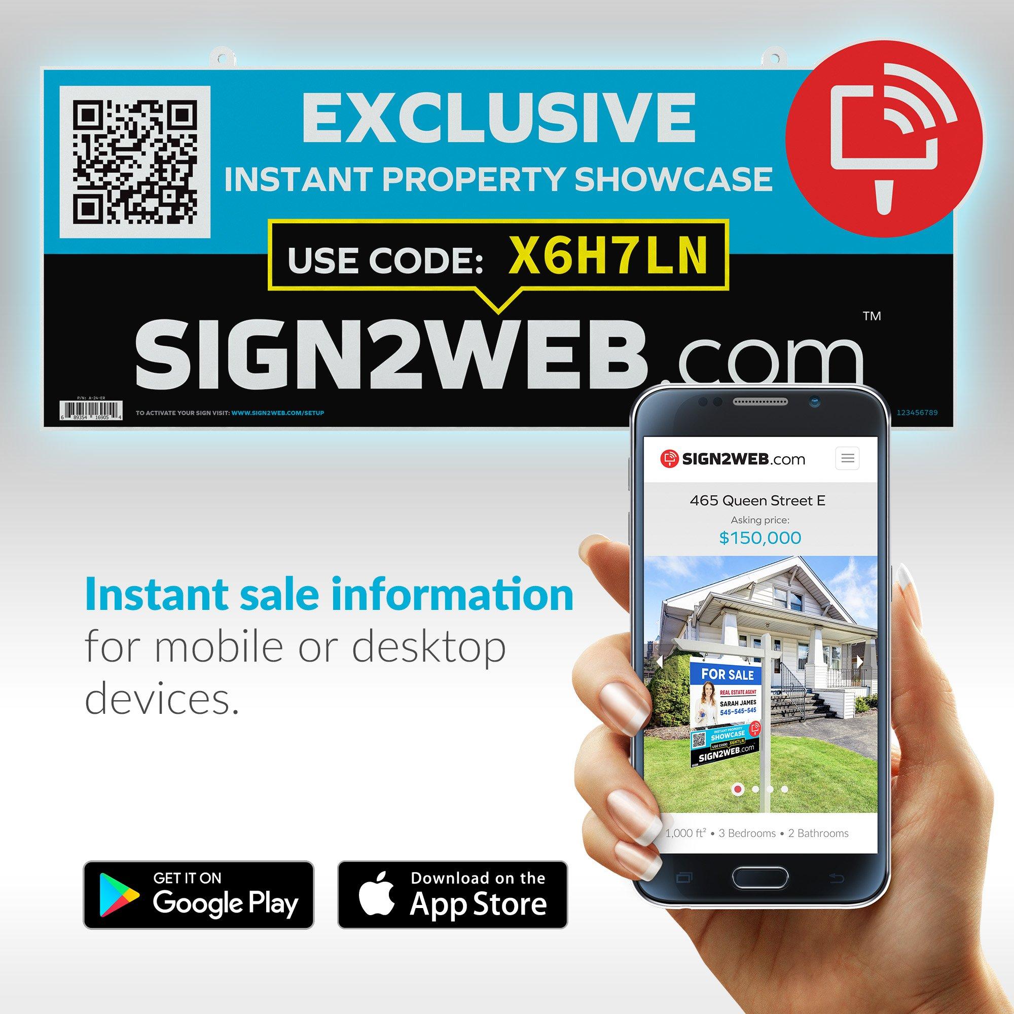 Web Enabled Realtor Exclusive Sign Rider + Website - Laser Printed High Visibility Real Estate Exclusive Sign Rider - Double Sided 24'' Real Estate Agent Sign Rider - Evolved Agent Sign Solution!