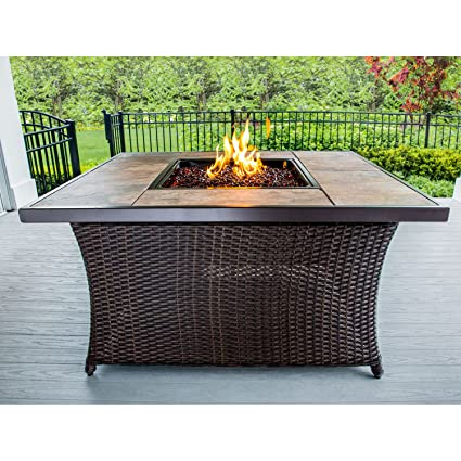 Outdoor Fire Pit Coffee Table.Amazon Com Hanover Coffeetblfp Tile Woven 40 000 Btu Fire Pit