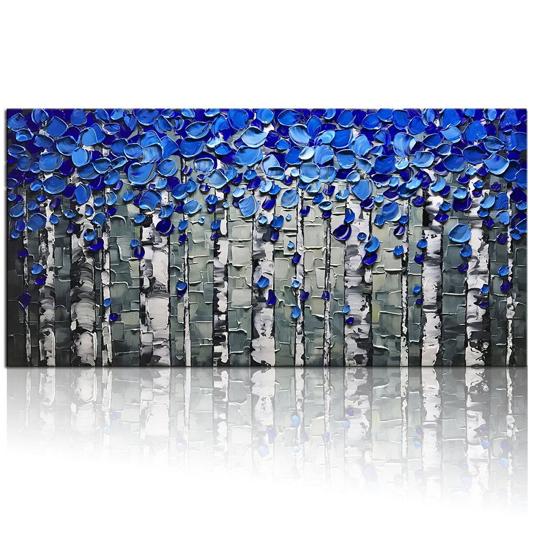 Desihum - Blue Birch Forest Wall Art On Canvas 3D Oil Painting Hand Painted Texture Abstract Artwork For Living Room Office Bedroom Hotel Home Decor Tree Landscape Picture Frame For Wall(24''x48'') by Desihum