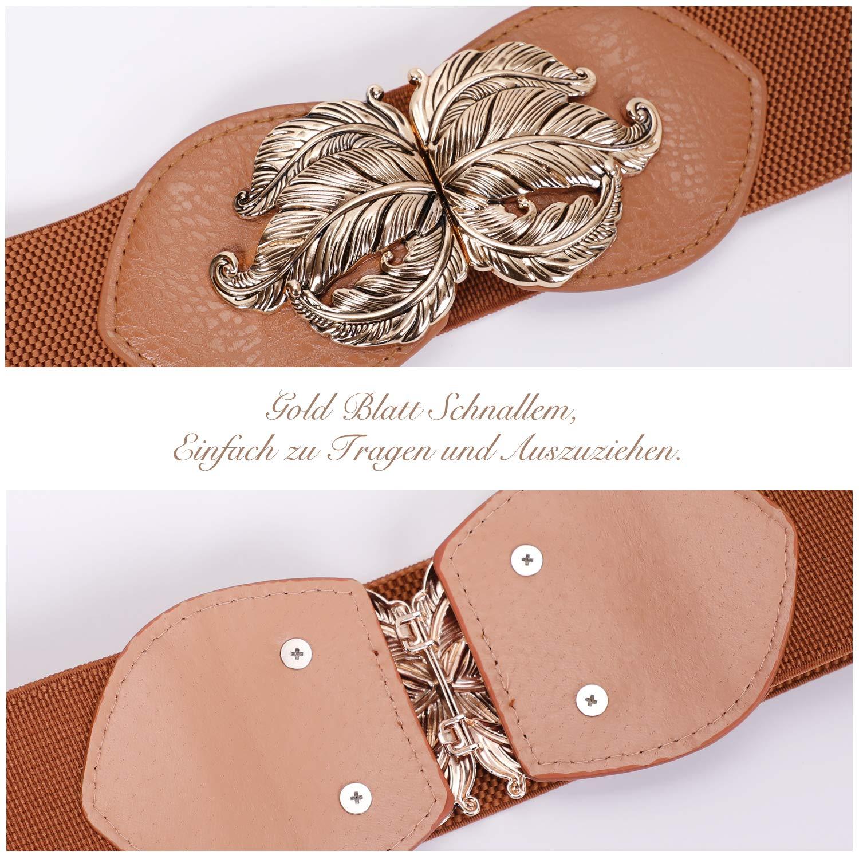 JasGood Damen Mode Breit Elastische Gürtel -Vintage Taillengürtel mit Gold Blatt Schnalle, Braun, Taille Größe 70cm-80cm