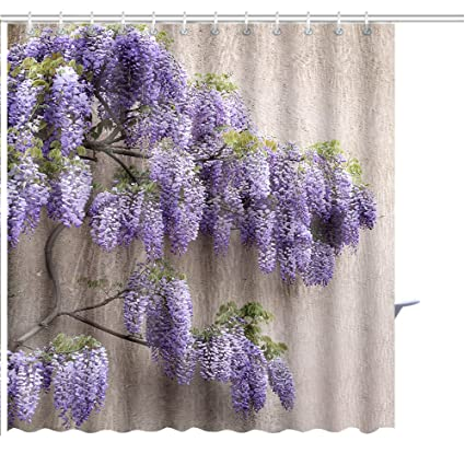 MuaToo Shower Curtain Cascading Purple Wisteria Blossoms Print Hooks Are Included 72quot