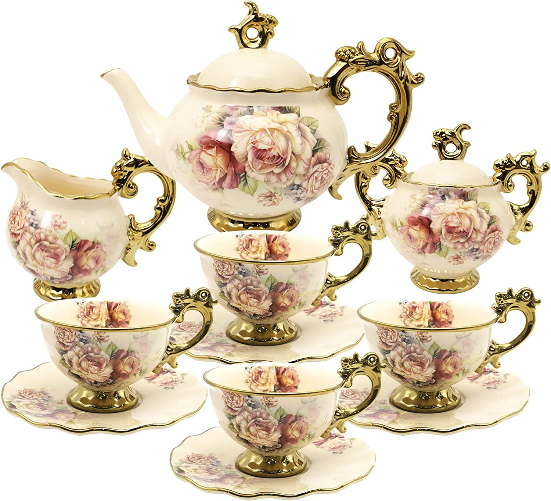 fanquare 15 Pieces British Porcelain Tea Sets,Flower Vintage China Coffee Set,Wedding Tea Service for Adult