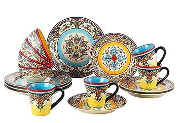 Euro Ceramica Zanzibar Collection Vibrant 16 Piece Ceramic Dinnerware Set Service for 4 Spanish  sc 1 st  Amazon.com & Amazon.com   Euro Ceramica Zanzibar Collection Vibrant 16 Piece ...
