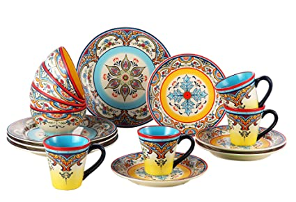 Euro Ceramica Zanzibar Collection Vibrant 16 Piece Earthenware Dinnerware Set Service for 4 Spanish  sc 1 st  Amazon.com & Amazon.com | Euro Ceramica Zanzibar Collection Vibrant 16 Piece ...