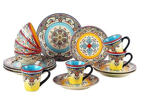 Euro Ceramica Zanzibar Collection Vibrant 16 Piece Ceramic Dinnerware Set Service for 4 Spanish  sc 1 st  Amazon.com & Amazon.com: Euro Ceramica Zanzibar Collection Vibrant 16 Piece ...