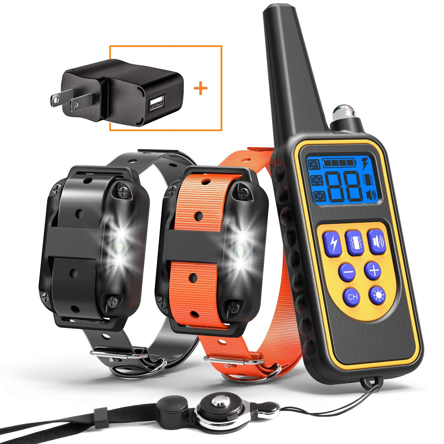 Cambond Dog Training Collar for 2 Dogs, Waterproof 2600ft Range Dog Shock Collar with Remote for Medium and Large Breed Dog with 4 Training Modes Light Shock Vibration Beep, 2018 Upgraded