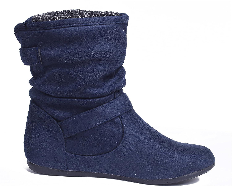 Damen Schnalle Rund Schließen Zehe Flache Halbschaft Stiefel,EuX33 Marine 38 AgeeMi Shoes