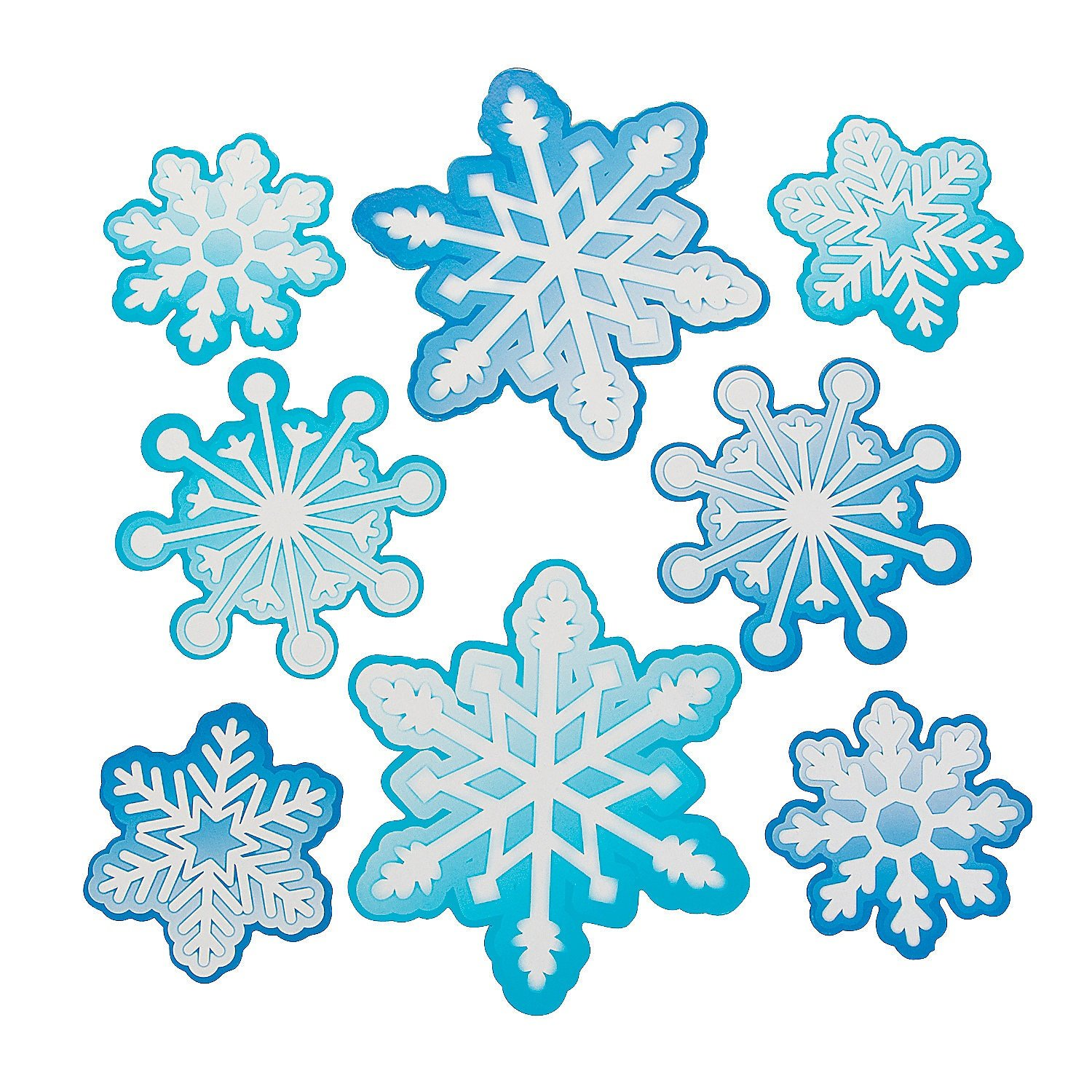 Snowflake Bulletin Board Cutouts (48 Pieces) 3 1/2 - 6 - Christmas Party Decor Oriental Trading Company