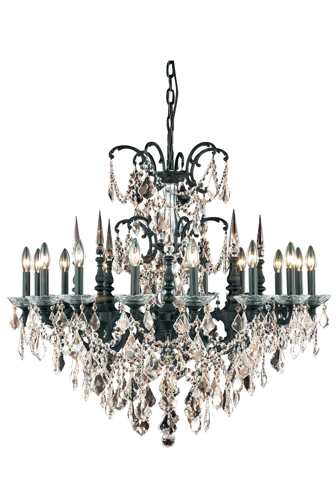9716 Athena Collection Hanging Fixture D35in H33in Lt:16 Dark Bronze Finish (Royal Cut Golden Teak Crystals)
