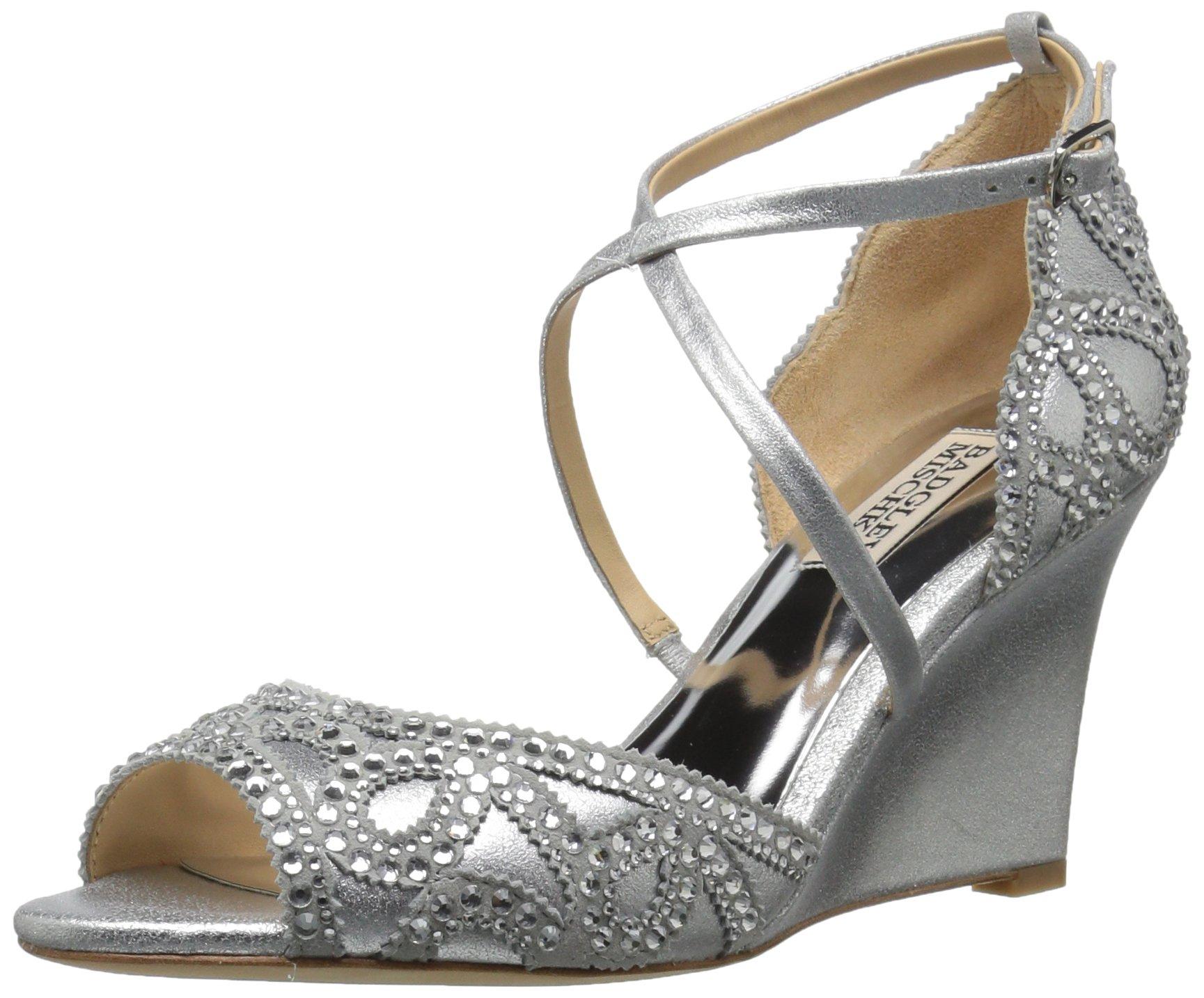 Badgley Mischka Women's Winter Wedge Sandal, Silver, 5.5 M US