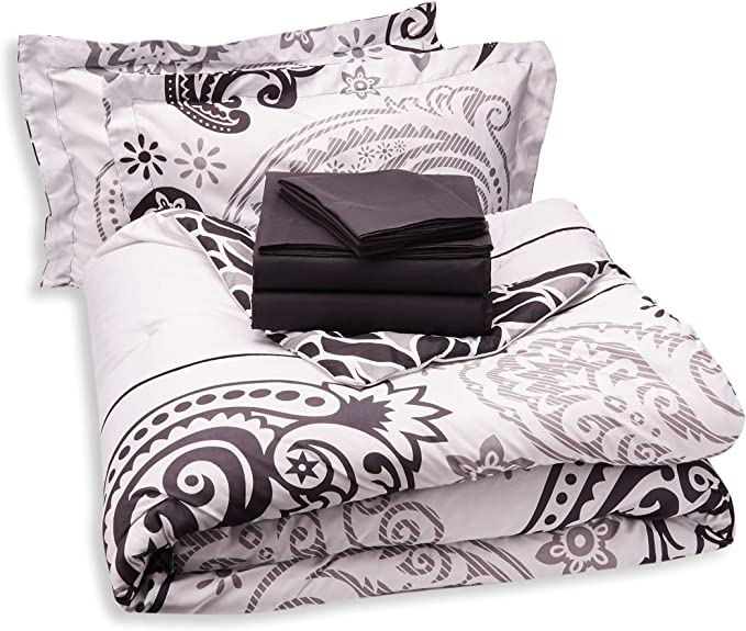Chic Home Olivia 20 Piece Comforter Set Reversible Paisley Print Complete Bed In A Bag With Sheet Set Window Treatments And Decorative Pillows Queen Black White Home Kitchen Amazon Com