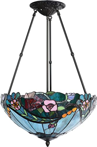 Bieye L10741 Rose Flower Tiffany Style Stained Glass Ceiling Pendant Light with 18-inch Wide Lampshade, 3 Lights