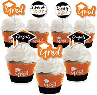product image for Big Dot of Happiness Orange Grad - Best is Yet to Come - Cupcake Decoration - 2021 Orange Graduation Party Cupcake Wrappers and Treat Picks Kit - Set of 24