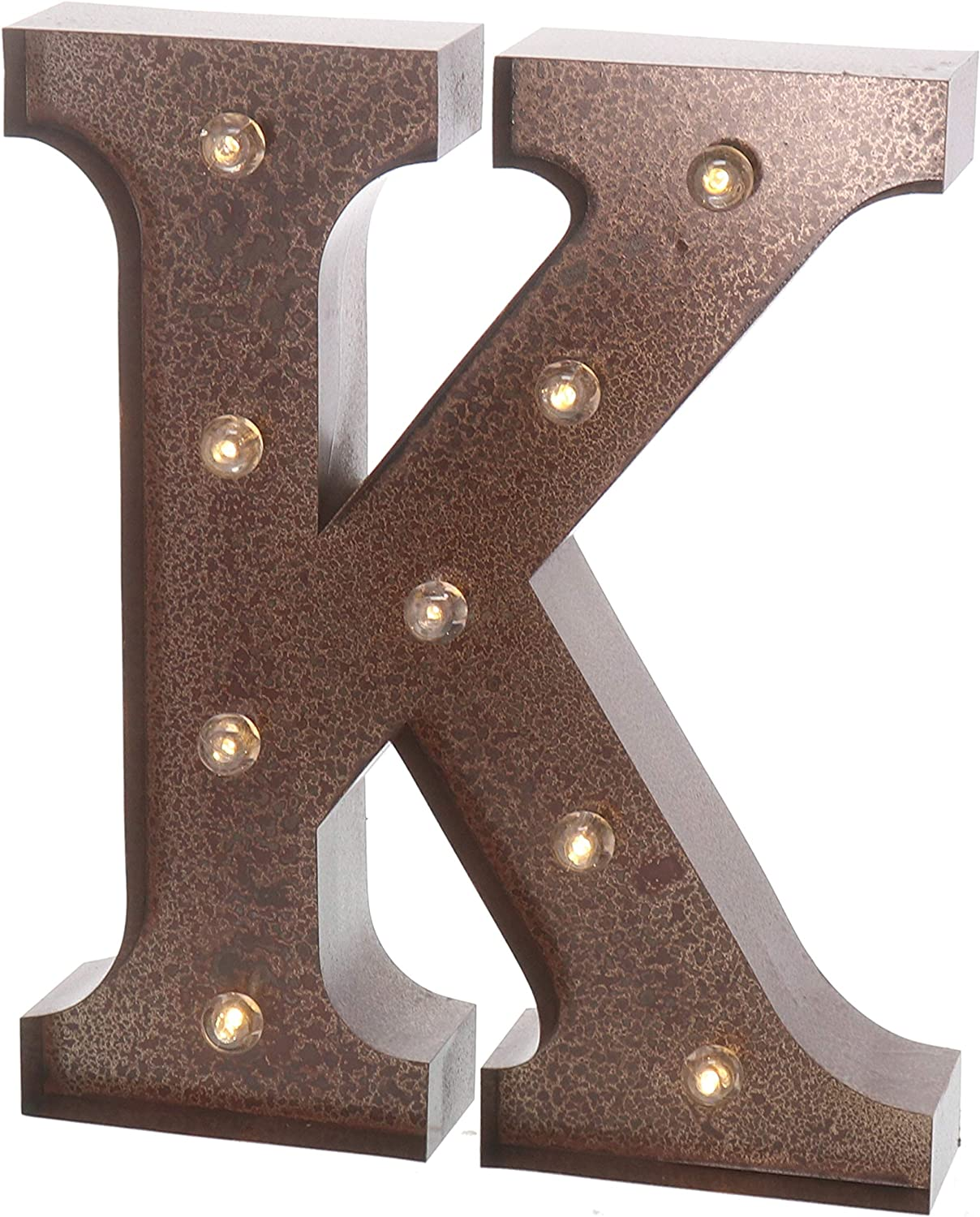 """Barnyard Designs Metal Marquee Letter K Light Up Wall Initial Wedding, Home and Bar Decoration 12"""" (Rust)"""
