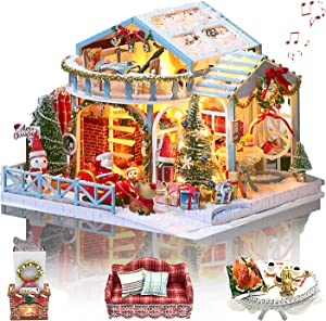 GuDoQi Christmas Night DIY Dollhouse Kit with Music, 3D Wooden Dollhouse Miniature Kit to Build, Mini House Model Kit with Furniture, Great Handmade Crafts Gift Idea for Christmas 2020