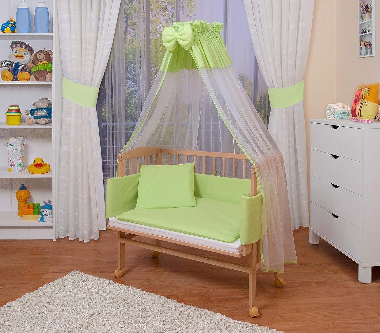 lacado en blanco 14 modelos a elegir a elegir,color textil rosa WALDIN Cuna colecho para beb/é con equipamiento completo