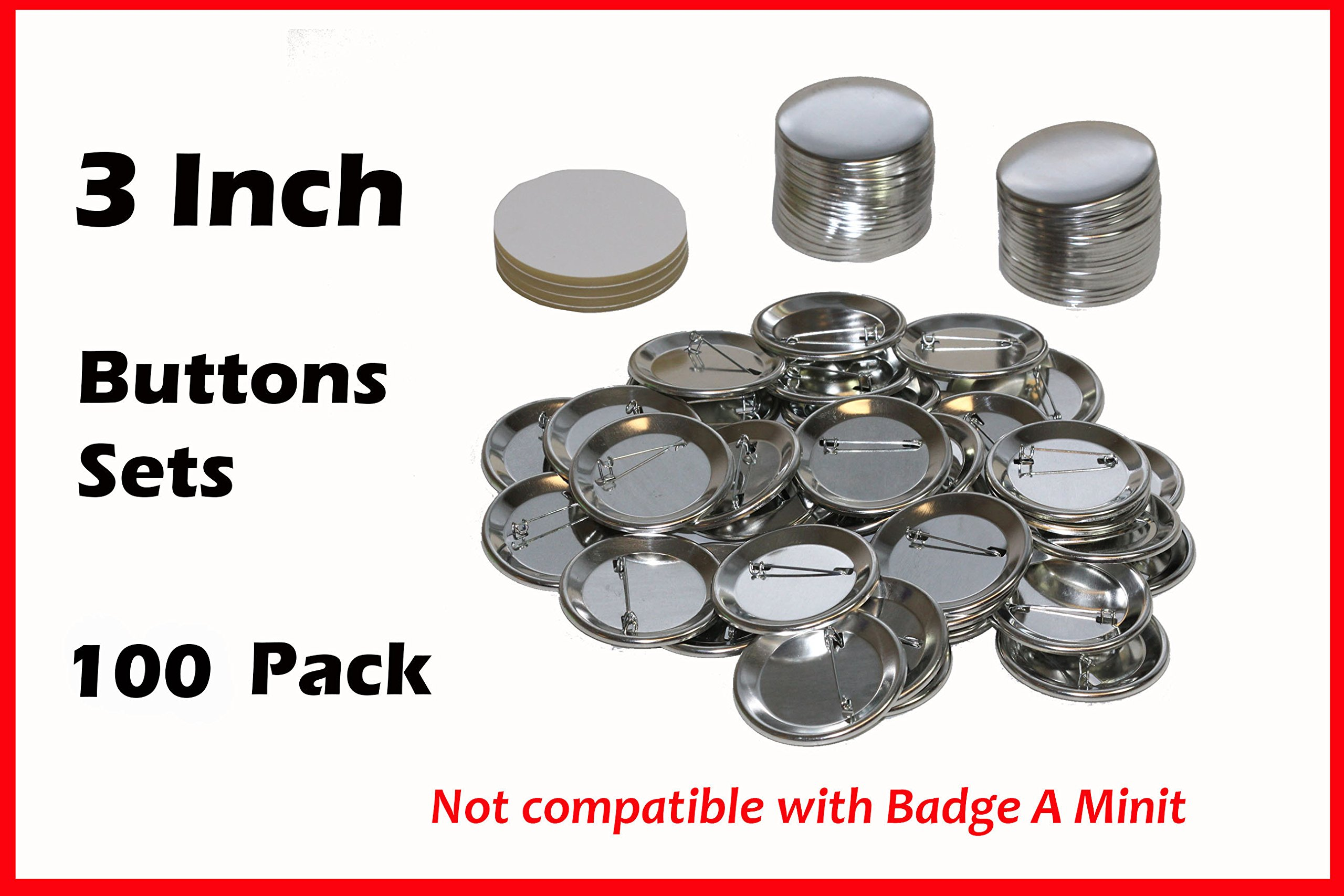 3 Inch Diameter 100 Pack Metal Round Buttons Parts - Metallic Badge Making Supplies by UpickDeals
