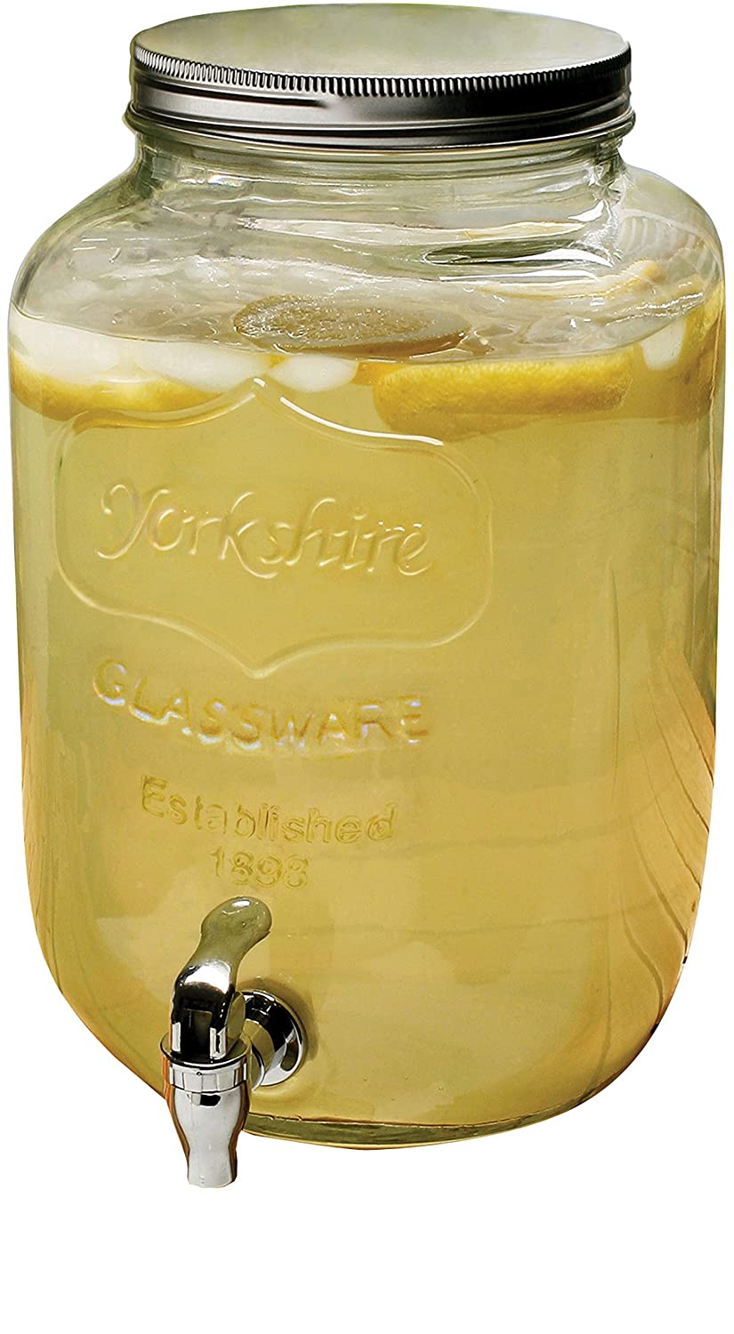Circleware Yorkshire Sun Tea Mason Jar Glass Beverage Drink Dispenser with Metal Lid, 2 Gallon, Clear, Limited Edition Drinking Glassware 06900