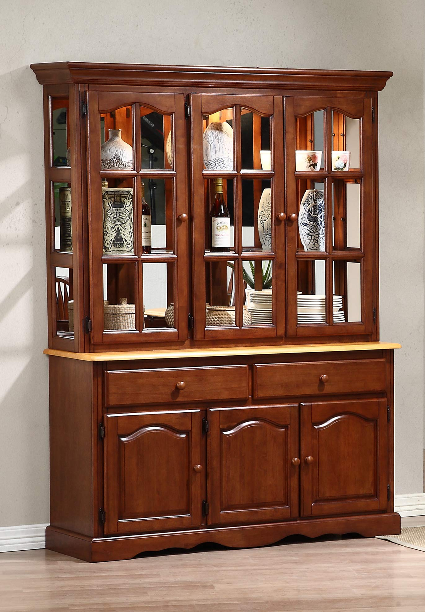 Sunset Trading Oak Selections Buffet and Hutch, Medium Walnut with Light Finish top by Sunset Trading