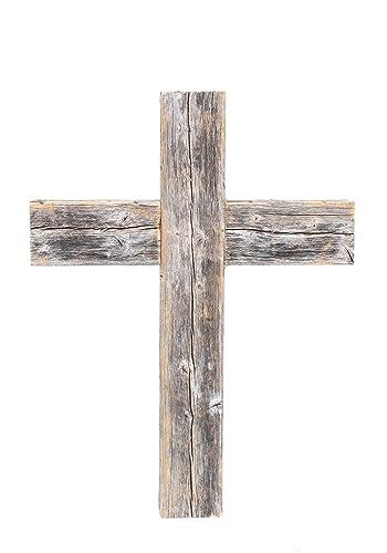 BarnwoodUSA Decorative Cross, Rustic Christian Home Decor, Recycled Wood Weathered Gray