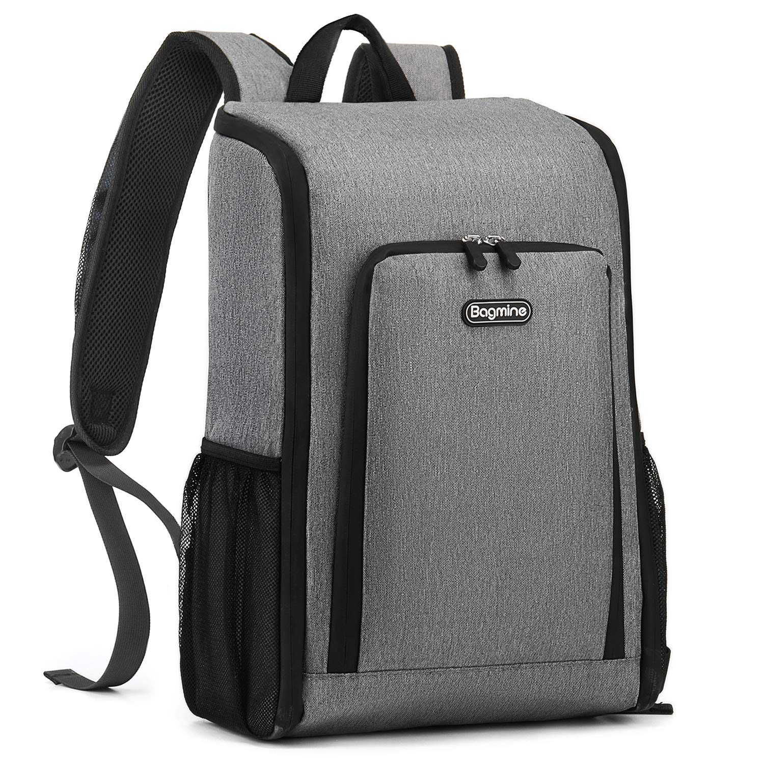 Insulated Cooler Backpack, Bagmine  17 Liter Foldable Lunch Backpack with Cooler, Lightweight, Waterproof Thermal Cooler Bag for Picnic, Hiking, Beach, Park, Gray