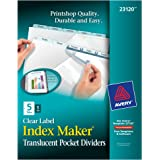 Avery Index Maker Clear Pocket Clear Label Plastic Dividers, 5-Tab Set (23120)