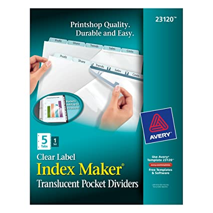 Amazon Avery Plastic Pocket Dividers Index Maker Easy Apply