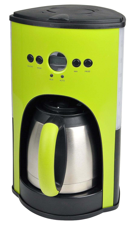 kaffeemaschine grün mit thermoskanne