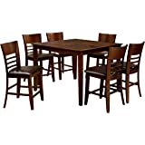 HOMES: Inside + Out IDF-3916PT-7PK Brown Cherry Nadia 7 Piece Counter Height Set