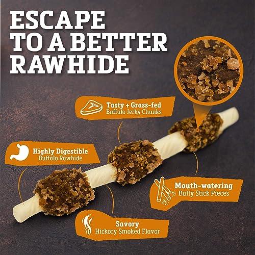 Buffalo Range Rawhide Dog Treats Healthy, Grass-Fed Buffalo Jerky Raw Hide Chews Hickory Smoked Flavor