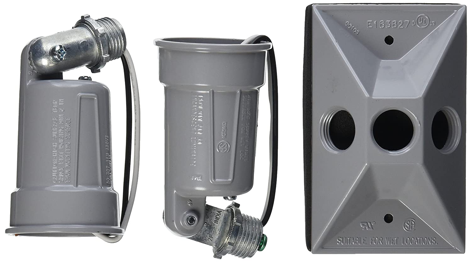 Hubbell-Bell 5621-0 Weatherproof Lamp Holder and Cover Combination Gray 1605934