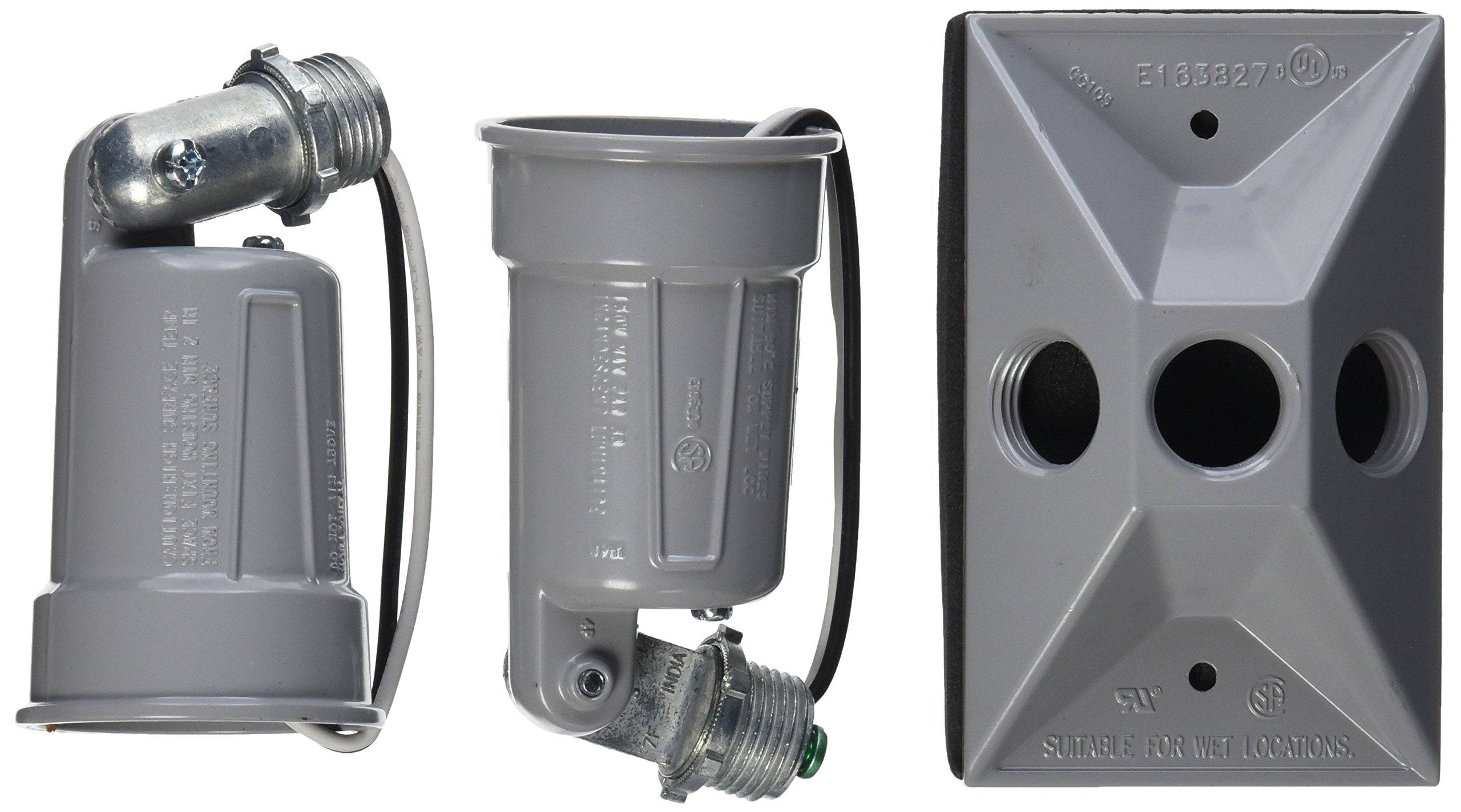 Hubbell-Bell 5621-0 Weatherproof Lamp Holder and Cover Combination, Gray