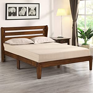 Olee Sleep Wood Platform Headboard Bed Frame, Queen, Natural