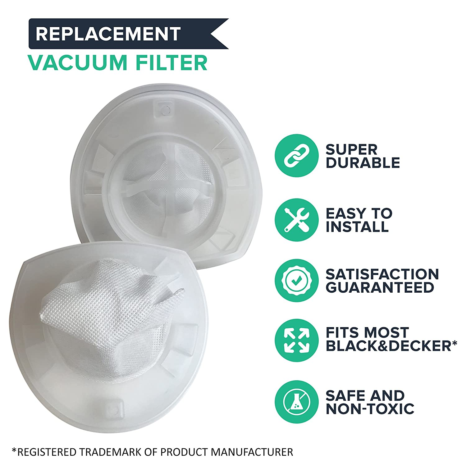 Think Crucial Replacement Air Filters - Compatible with Black & Decker Hand Vacuum Air Filter Part - Pair with Parts #VF110 VF110H 90558113-01 - Fits ...