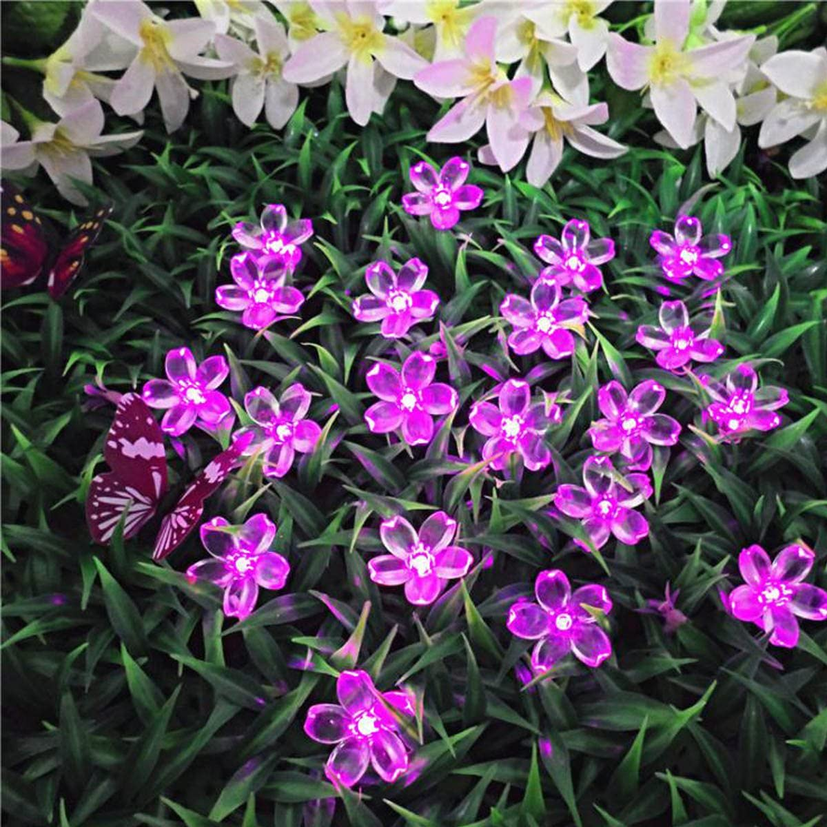 50 LED Solar Flower Fairy String Light Blossom Waterproof Outdoor Party Decor
