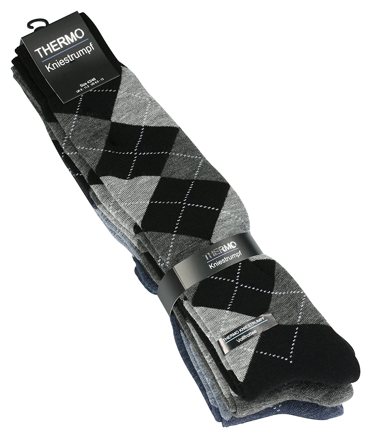 3 Pairs of Mens Full Terry knee high Thermal Socks with checked Pattern VCA Textil